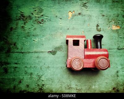 Vintage wooden train toy - Stock Image