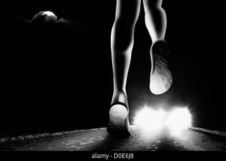 Female jogging in the night. - Stock Image