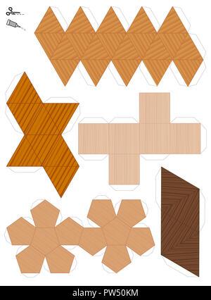 Modèles en papier des cinq solides platoniques. Trois modèles texturés pour découper et créer cinq formes géométriques. Exemple de différentes textures. - image d'archive