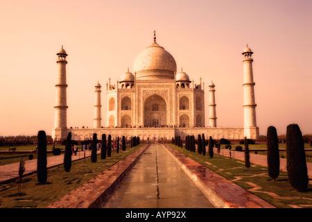 Taj Mahal, Agra, India in sepia tone - Stock Image