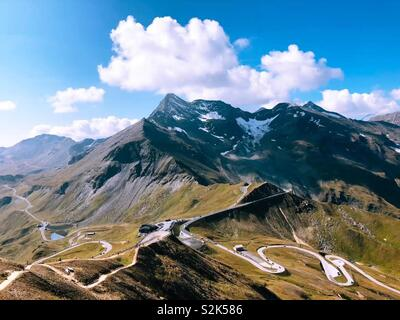 Best road in the world. Grossglockner Alpine Pass Austria. - Stock Image