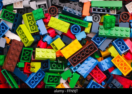Tambov, Russian Federation - March 24, 2015 Heap of multicolor Lego Blocks. Studio shot. - Stock Image