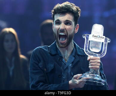 Tel Aviv, Israel. 19th May, 2019. TEL AVIV, ISRAEL, MAY 19, 2019: Contestant Duncan Laurence representing the Netherlands gives a news conference as he wins the 2019 Eurovision Song Contest. Vyacheslav Prokofyev/TASS Credit: ITAR-TASS News Agency/Alamy Live News - Stock Image