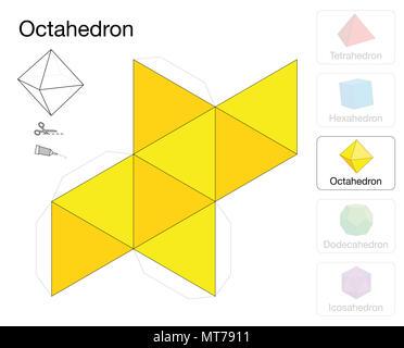 Modèle solide platonique d'octaèdre. Maquette en papier d'un octaèdre, l'un des cinq solides platoniques, destinée à la fabrication d'un engin tridimensionnel. - image d'archive