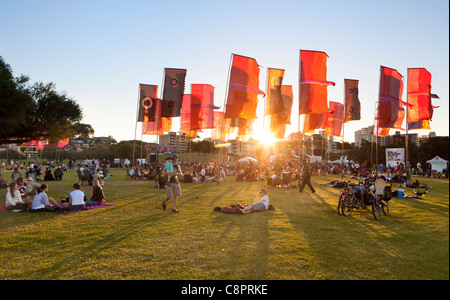 The sun setting on the CHOGM 2011 Commonwealth Festival Finale Concert. in South Perth, Western Australia - Stock Image