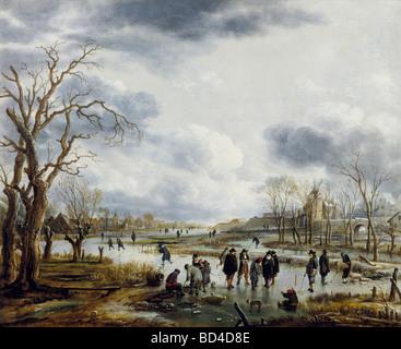 fine arts, Neer, Art van der (1603 - 1677), painting, 'Ijsvermaak buiten de Stadtswal', Cooectie Museum, - Stock Image