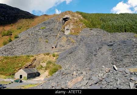Aberllefenni Slate Quarry worked continuously from 16th century until it closed in 2003 near Corris Gwynedd Wales - Stock Image