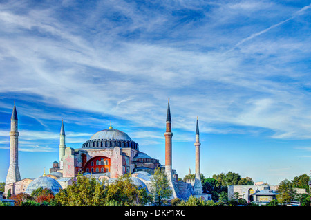 Haghia Sophia (Aya Sofia) photographed against a blue sky and processed for high dynamic range. - Stock Image
