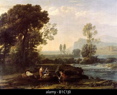 fine arts, Lorrain, Claude (1600 - 23.11.1682), painting, 'Landscape with rest in flight to Egypt', 1647, - Stock Image