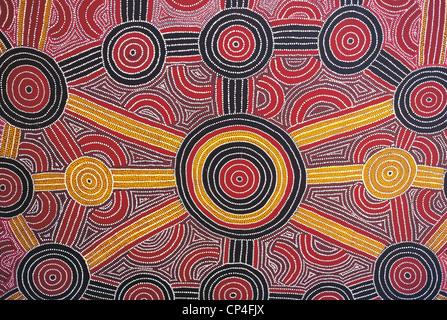 Australia - Uluru-Kata Tjuta National Park. Aboriginal painting in the hotel Sheraton. - Stock Image