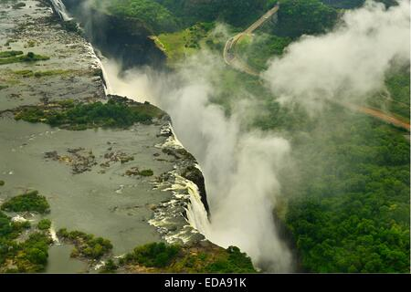 Aerial image of the Victoria Falls and the spray taken from the Zimbabwe side and looking towards Zambia.  Africa, - Stock Image