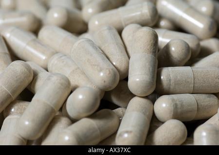 close up of white pills - Stock Image
