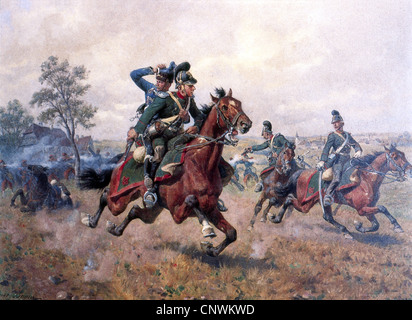 events, Franco-Prussian War 1870 - 1871, skirmish at Sturzelbronn, 1.8.1870, the Bavarian cheveu-leger Hermann Weinacht - Stock Image