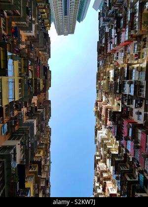 Hong Kong, Mansion Towers, Look up, Tall Building - Stock Image