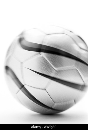 Soccer ball, close-up, b&w. - Stock Image