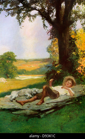 Boy lying under a shade tree with his sleeping dog, early 1900s. Printed color halftone of an illustration by Frank - Stock Image