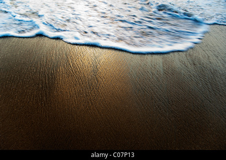 High angle view of surf on the beach, Goa, India - Stock Image