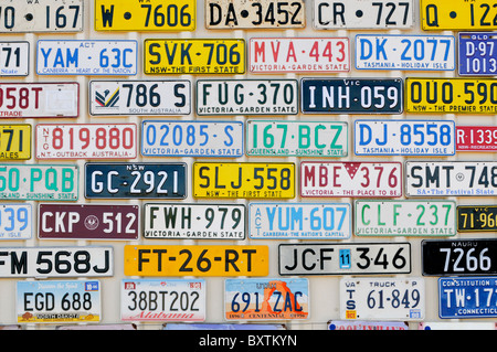 Number Plates At The Roadhouse In Menzies Wa Australia - Stock Image