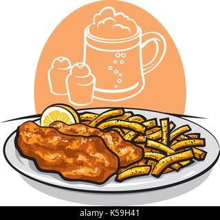 illustration de poisson frit au four avec citron et sauce - Image