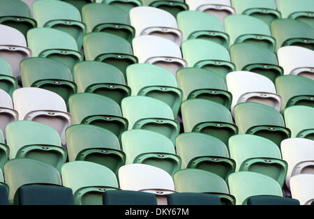 Jan 20, 2010 - Melbourne, Victoria, Australia - Empty stadium seats during the Justine Henin (BEL) vs  Elena Dementieva match during round one action at the Australian Open 2010. (Credit Image: © MM Images/ZUMA Press) - Stock Image