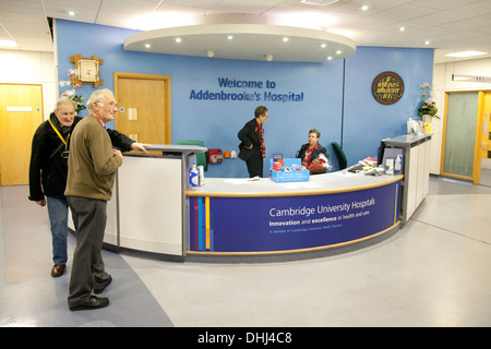 Addenbrookes NHS Hospital welcome information desk at the entrance, Cambridge UK - Stock Image