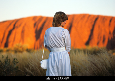 Princess Diana at Uluru watches the sunset on Ayers Rock march1983 - Stock Image