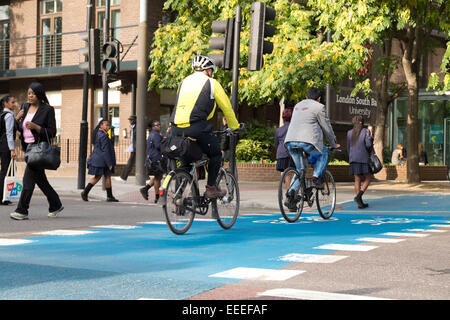 Cycle Superhighway CS7 crosses London Road outside Southbank University - Stock Image