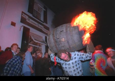 Tar barrel running in Ottery St Mary Devon UK - Stock Image