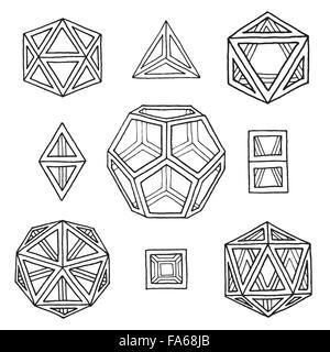 vecteur noir contour main dessinée monochrome platonic solides tétraèdre, cube, hexaèdre, octaèdre, dodécaèdre, - image de fichier