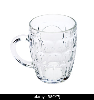 Verre à bière vide British British Ale Jug sur blanc - Image