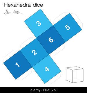 Le modèle hexaèdre, le cube hexaèdre - un des cinq solides platoniques - crée un objet 3D avec six pages du filet et joue aux dés. - image d'archive