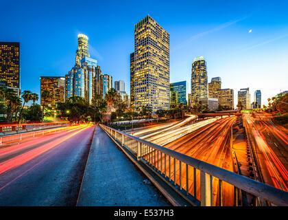 Los Angeles, California, USA downtown skyline at night. - Stock Image