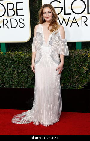 Beverly Hills, Us. 08th Jan, 2017. Drew Barrymore arrives at the 74th Annual Golden Globe Awards, Golden Globes, - Stock Image