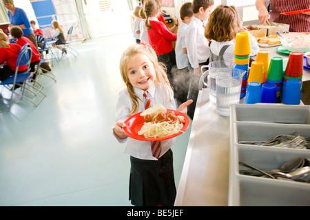 School dinner at primary school uk - Stock Image