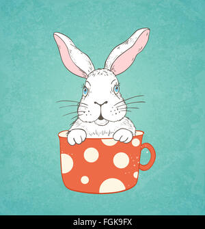 Hand drawn Easter card with white rabbit in a red cup - Stock Image