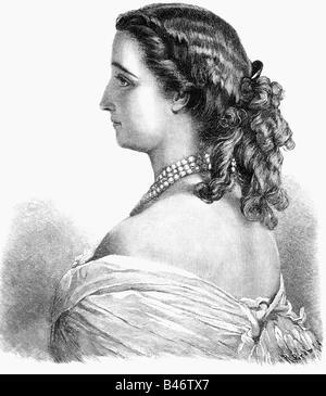 Eugenie, 5.5.1826 - 11.7.1920, Empress Consort of France 30.1.1853 - 4.9.1870, half length, wood engraving after - Stock Image
