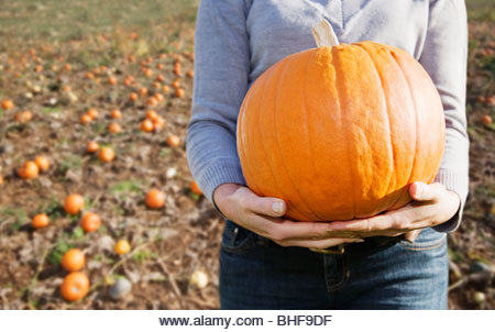 Woman holding pumpkin - Stock Image