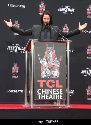 Hollywood, Ca. 14th May, 2019. Keanu Reeves at the Keanu Reeves Hand And Foot Print Ceremony at the TCL Chinese Theatre IMAX in Hollywood, California on May 14, 2019. Credit: Faye Sadou/Media Punch/Alamy Live News - Stock Image