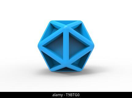 Illustration de rendu 3D d'un objet de forme 3d géométrique de haedron icône bleu clair - Image