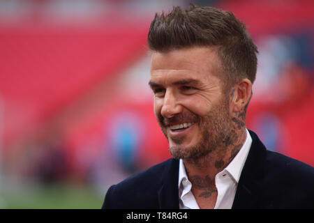 London, UK . 11th May 2019.  David Beckham ahead of the Vanarama National League Play Off Final between Salford City and AFC Fylde at Wembley Stadium, London on Saturday 11th May 2019. (Credit: Lewis Storey | MI News & Sport ) ©MI News & Sport Ltd Tel: +44 7752 571576 e-mail: markf@mediaimage.co.uk Address: 1 Victoria Grove, Stockton on Tees, TS19 7EL - Stock Image