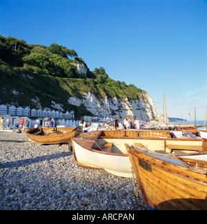 Bateaux sur la plage, bière, devon, Angleterre, Royaume-Uni - Image