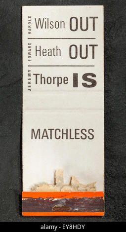 Jeremy Thorpe and Liberal Part Promotional Matchbook - Stock Image