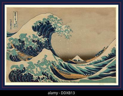 Kanagawa oki nami ura, The great wave off shore of Kanagawa. [between 1826 and 1833, printed later], 1 print : woodcut, color - Stock Image