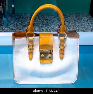 Handbag Miu Miu ( Prada ) Monaco shop French Riviera  fashion house Italy Italian - Stock Image