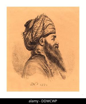 Baron Dominique Vivant Denon (French, 1747  1825 ), Profile Head of Oriental in Turban, 1820, lithograph - Stock Image