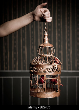 hand holding a birdcage - Stock Image