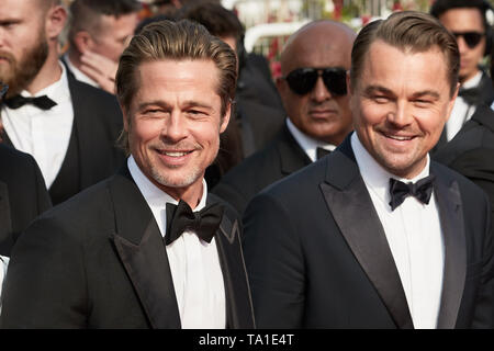 Cannes, France. 21st May, 2019. CANNES, FRANCE - MAY 19: Brad Pitt (L) and Leonardo DiCaprio attends the screening of 'Once Upon A Time In Hollywood' during the 72nd annual Cannes Film Festival on May 21, 2019 in Cannes, France. (Photo by Oleg Nikishin/TASS) Credit: ITAR-TASS News Agency/Alamy Live News - Stock Image