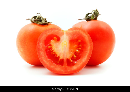 Tomatoes on a white background - Stock Image