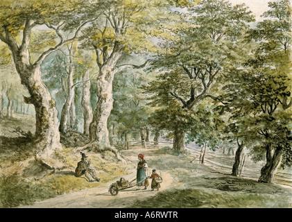fine arts, Dorner, Johann Jakob, the Younger (1775 - 1852), forrest near Dietramszell, watercolour, 21,6x30 cm, - Stock Image