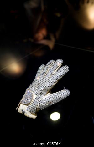 Michael jackson diamond glove moonwalk ,MJ gallery Ponte 16, Macau - Stock Image